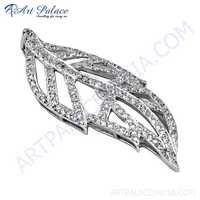 Leaf Style Cubic Zirconia Gemstone Silver Pendant