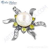 Expensive Pearl, Yellow & White Cubic Zirconia Silver Pendant
