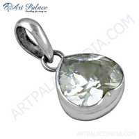 Charming Heart Style Cubic Zirconia Gemstone Silver Pendant