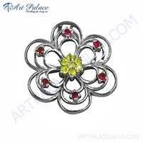 Flower Style Yellow & Pink Zirconia Silver Pendant
