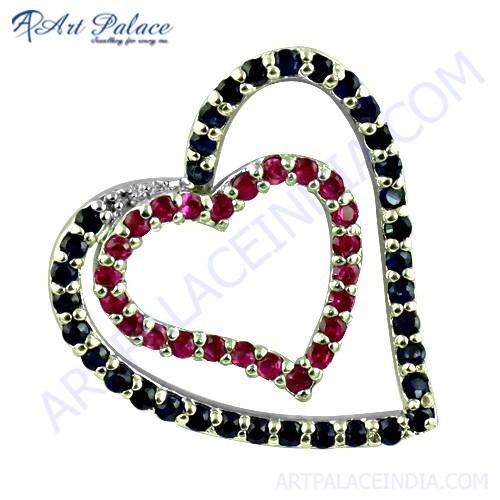 Lovely Duel Heart Ink & Pink Zirconia Gemstone Silver Pendant