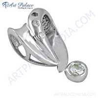 Famous Style Cubic Zirconia Gemstone Silver Pendant