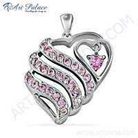 Antique Heart Style Pink Cz Gemstone Silver Pendant