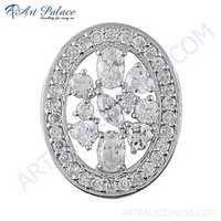 Dazzling Cubic Zirconia Gemstone Silver Pendant