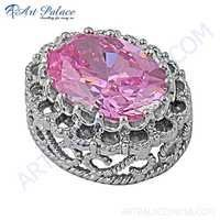 Party Wear Pink CZ Gemstone Silver Pendant