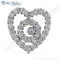 New Heart Shape Cubic Zirconia  Silver Pendant