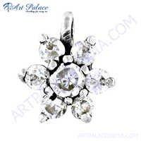 Charming Flower Style Cz Gemstone Silver Pendant