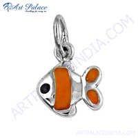 Fashionable Fish Style Inley Gemstone Silver Pendant