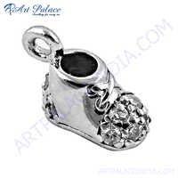 Antique Style Cz Gemstone Silver Pendant