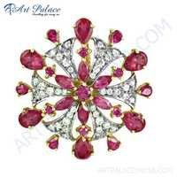Delicate Flower Style White & Pink Cz Gemstone Silver Pendant