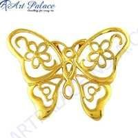 Butterfly Style Plain Silver Gold Plated Pendant