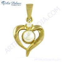 Pretty Heart Shape Cz & Pearl Gold Plated Silver Pendant