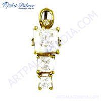Elegant Fancy Cz Gemstone Gold Plated Silver Pendant