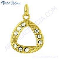 Stylish Gold Plated Cz Gemstone Silver Pendant