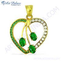 Stylish Heart Shape CZ & Green Glass Gold Plated Silver Pendant