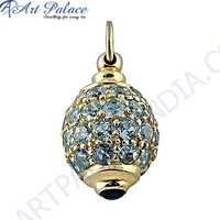 Trendy Blue Cubic Zirconia Gemstone Gold Plated Silver Pendant