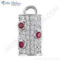 Party Wear White & Pink Cz Gemstone Silver Pendant