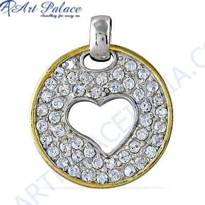 Creative Cz Gemstone Gold Plated Silver Pendant
