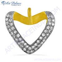 Cz Gemstone Gold Plated Silver Pendant In Heart Style