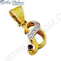 Fashion Accessories Cz & Garnet Gold Plated Silver Pendant