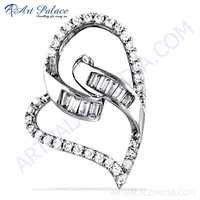Heart Style Cubic Zirconia Gemstone Silver Pendant