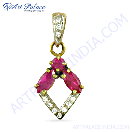 Loveable White & Pink Cz Gold Plated Silver Pendant