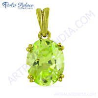 Wholesale Peridot Zircon Gemstone Gold Plated Silver Pendant