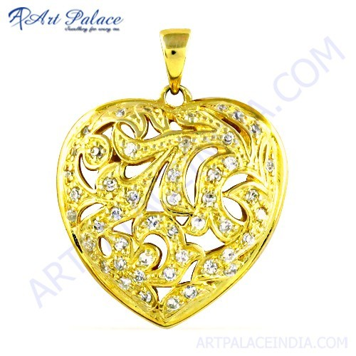 Fret Work Heart shape Gold Plated Silver Cz Pendant