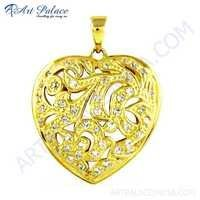 Fret Work Heart shape Gold Plated Silver Cz Pendant
