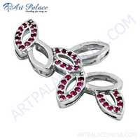 New Fashionable Pink Cubic Zirconia Silver Pendant