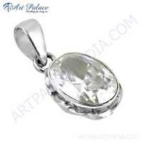 Indian Touch Cubic Zirconia Silver Pendant