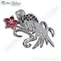 Cute Bird With Flower Style Silver Penadnt With Zirconia