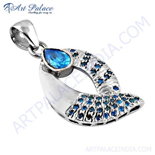 Popular Style Blue Cubic Zirconia Gemstone Silver Pendant
