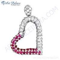 Loving Heart Pink & White Cubic Zirconia Silver Pendant