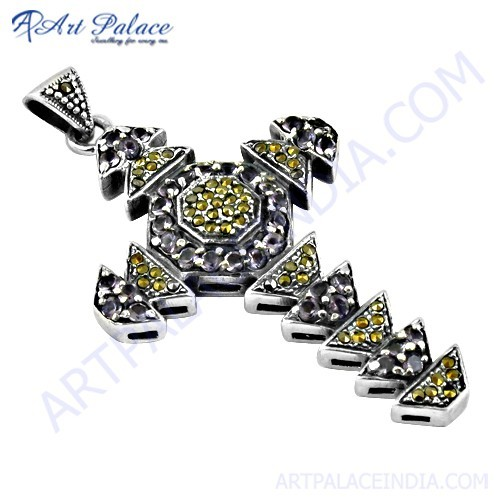 New Cross Style Gun Metal & Amethyst Gemstone Silver Pendant