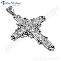 Trendy Cross Silver Pendant With Cubic Zirconia