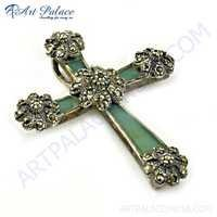 Beautiful Cross Silver Pendant With Gun Metal & Inley