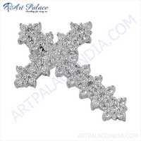 Designer Cubic Zirconia Gemstone Silver Cross Pendant