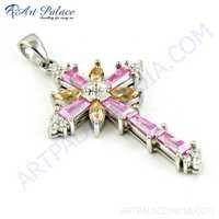 Fashionable Cross Multi Color CZ Silver Pendant