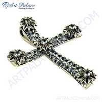 Designer Blue Topaz Glass & Gun Metal Cross Marcasite Silver Pendant