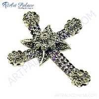 Antique Style Amethyst & Gun Metal Gemstone Cross Pendant