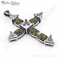 Stylish Cross Amethyst Zircon & Gun Metal Silver Pendant