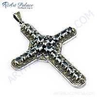 Fashionable Blue Topaz Glass, Gun Metal & CZ Cross Silver Pendant