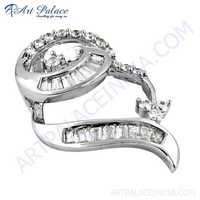 Sensational Cubic Zirconia Gemstone Silver Pendant