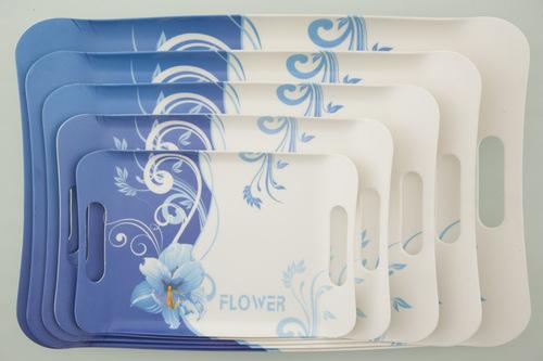 Valerio - Blue Flower - Set Of 5 Melamine Trays