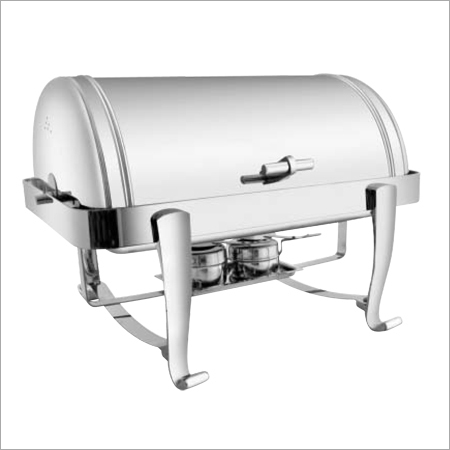 Rectangular Roll Top Chafing Dish with Chrome Legs