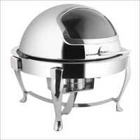 Round Roll Top Chafing Dish with Window & Chrome Legs