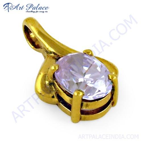 Sparkling Amethyst Zircon Gold Plated Silver Pendant