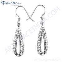 Luxury Cubbic Zirconia Gemstone Silver Earrings For Women's