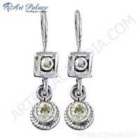 Delicate Cubic Zirconia Gemstone Silver Earrings
